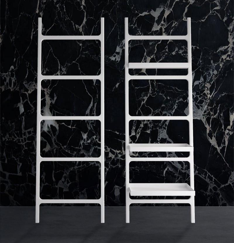 Toalheiro escada c/ prateleira K Stone branco