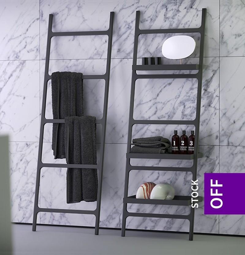 Toalheiro escada c/ prateleira K|Stone preto