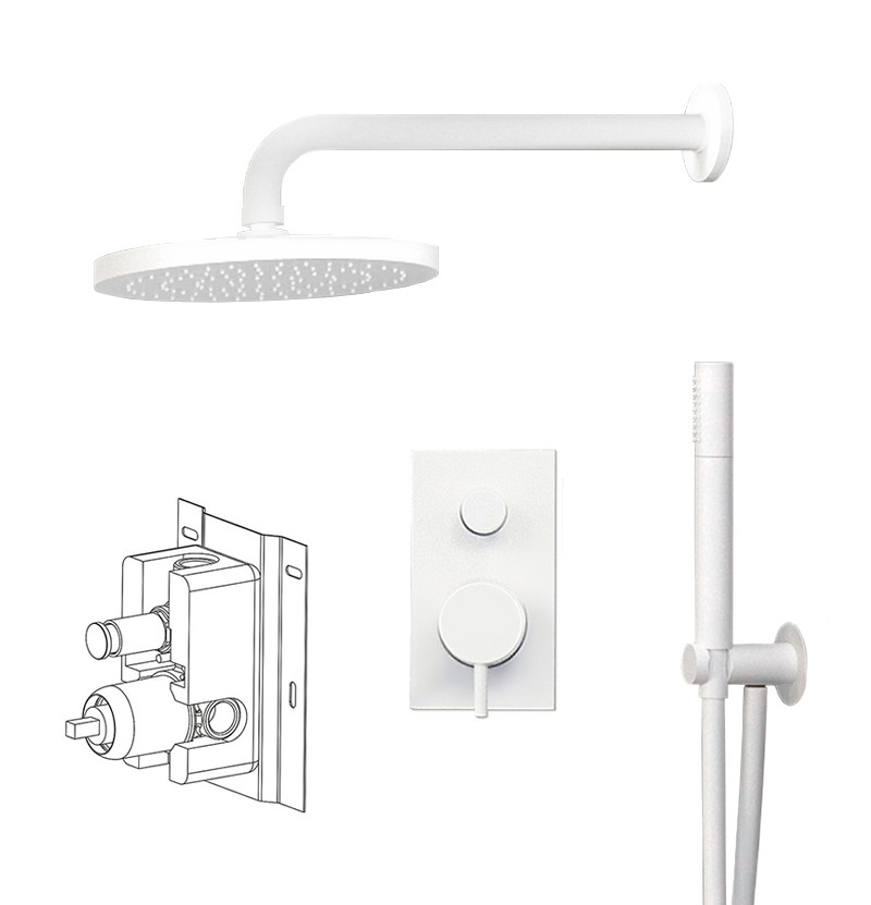 Conjunto de duche c/ chuveiro Flow branco